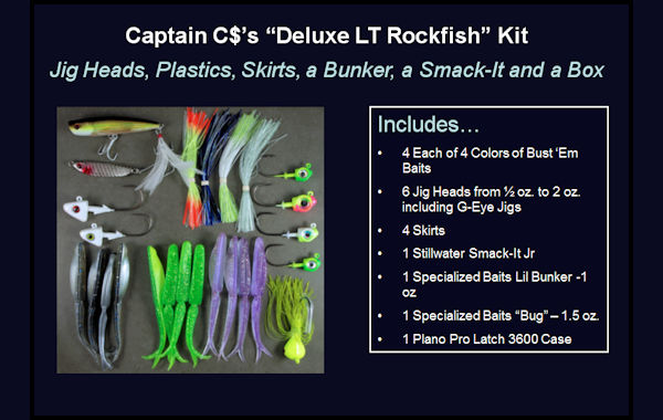 Capt. $s Deluxe Light Tackle Rockfish Kit Lure Storage, Light Tackle Lures, Striper Light Tackle