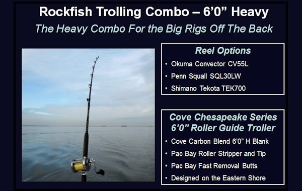 ON SALE! Cove Rockfish Trolling Combo - 60 Heavy Rod with Rollers Striper Trolling Combos, Trolling Rods, Oluma Convector, Shimano Tekota, Penn Squall Level Wind