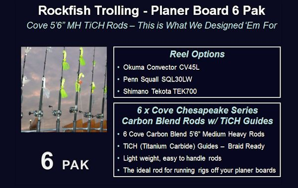 Cove Rockfish Trolling Combo - Planer Board 6 Pak Striper Trolling Combos, Trolling Rods, Planer Board Trolling, Planer Board Rods, Shimano Tekota, Penn Squall Level Wind