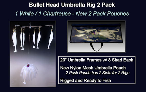 15% OFF! Bullet Head Umbrella Rig 2 Pack w/ Nylon & Mesh Pouch
