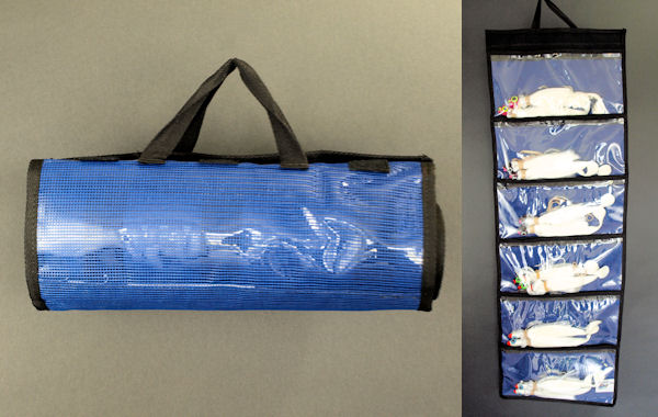 "Vinyl & Mesh 6-Pak Roll Up Bag (42""x 15"") Lure Storage, Striper Lures, Rockfish Lures, Trolling Lure Storage"